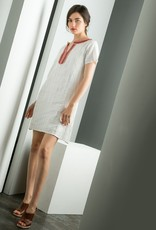 Short Sleeve Metallic Stripe Dress
