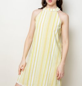 Halter Stripe Dress Yellow