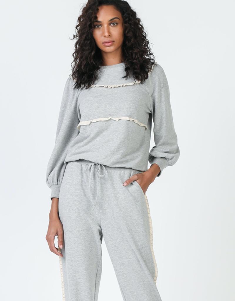 Ruffle Front Sweater Grey