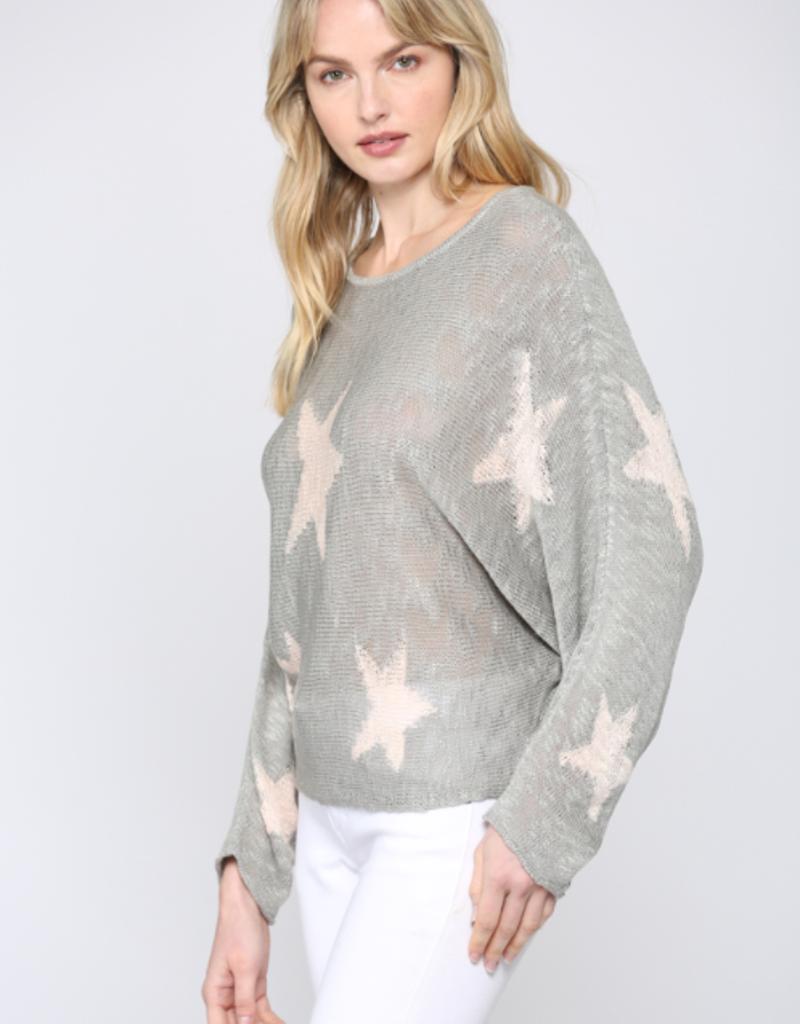 Star Print Sweater Grey/Pink