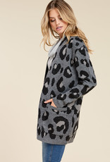 Open Front Leopard Cardigan Grey