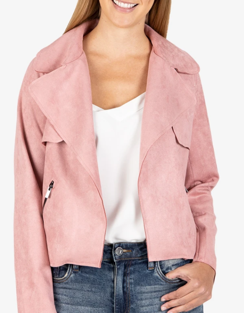 Jacee Draped Moto Jacket Rose