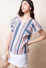 Stripe Flutter Sleeve Top Blue/Red