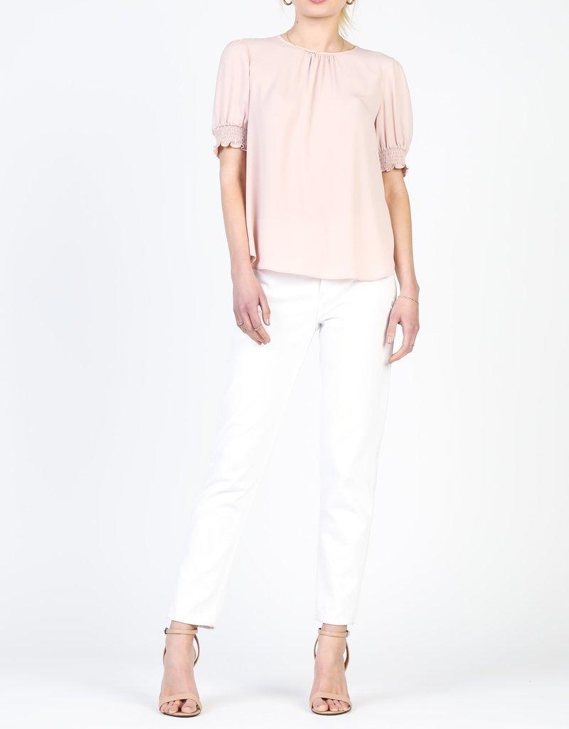 Drop Sleeve Smocked Blouse Blush
