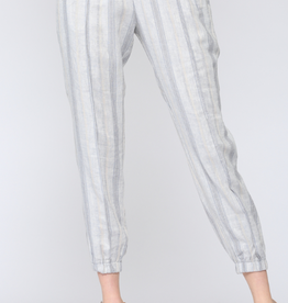 Striped Linen Joggers Blue
