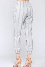 Striped Linen Joggers Blue