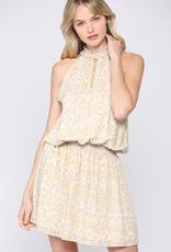 Smocked Print Sleeveless Dress