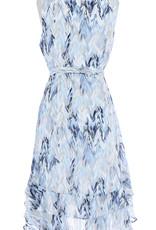 Ruffle Hem Dress Ivory/Blue