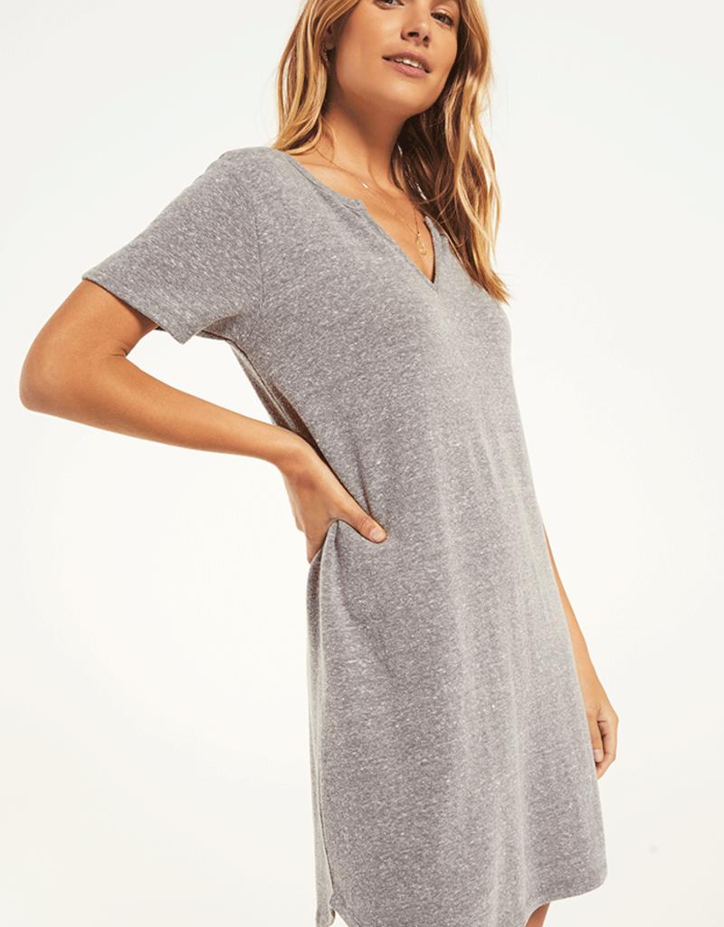 Split Neck Triblend Dress Heather Grey