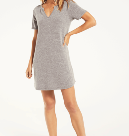 Split Neck Triblend Dress Heather Grey