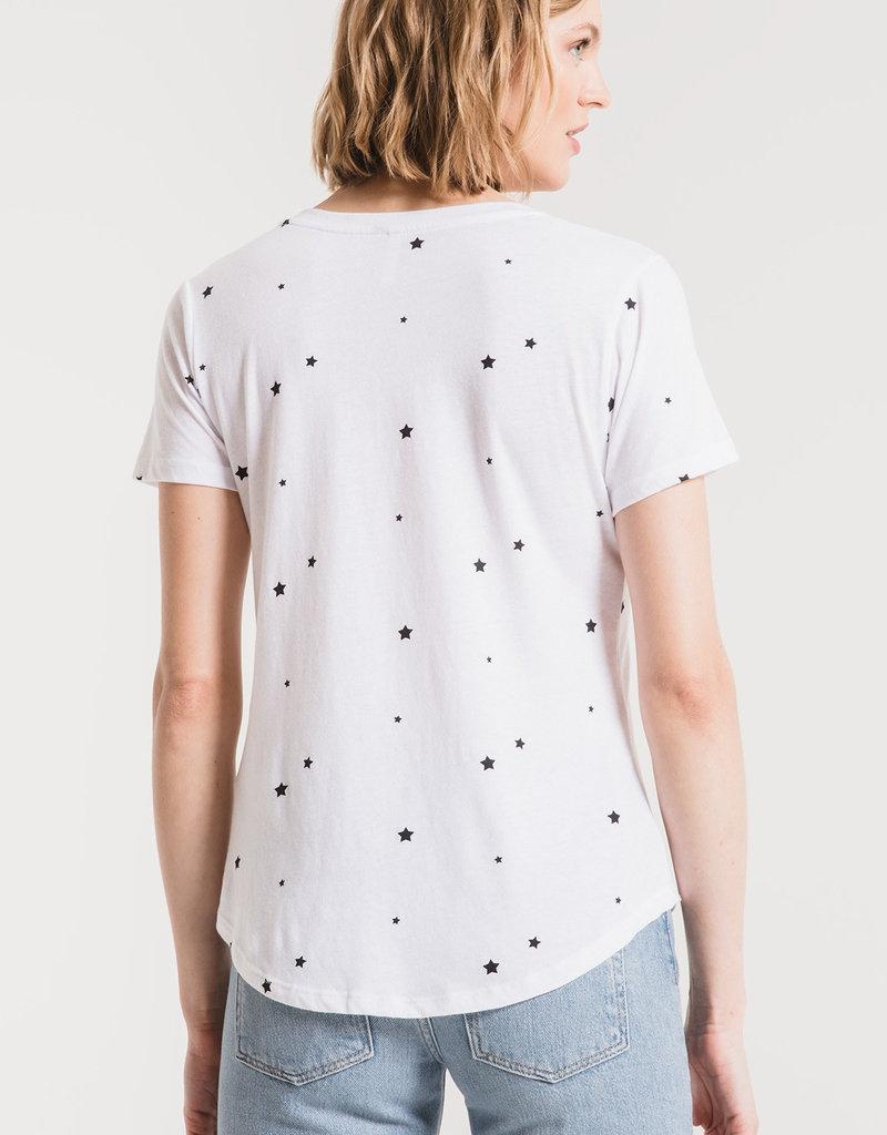 Star Print V Neck Tee White/Black