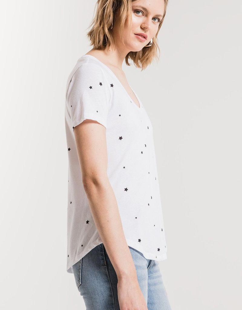 Star Print V Neck Tee White/Black