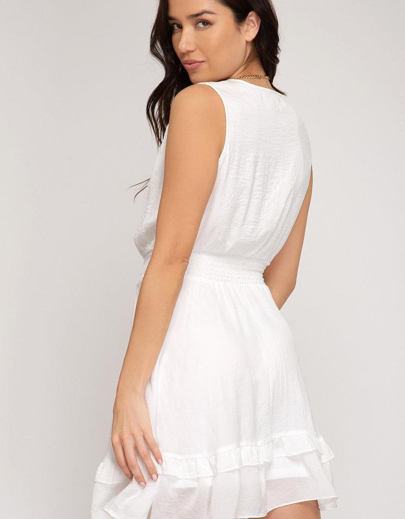 Smocked Woven Dress Cream