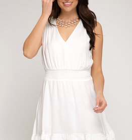 Smocked Woven Dress Cream
