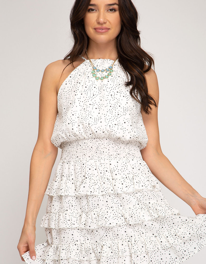 Smocked Star Tiered Dress Off White