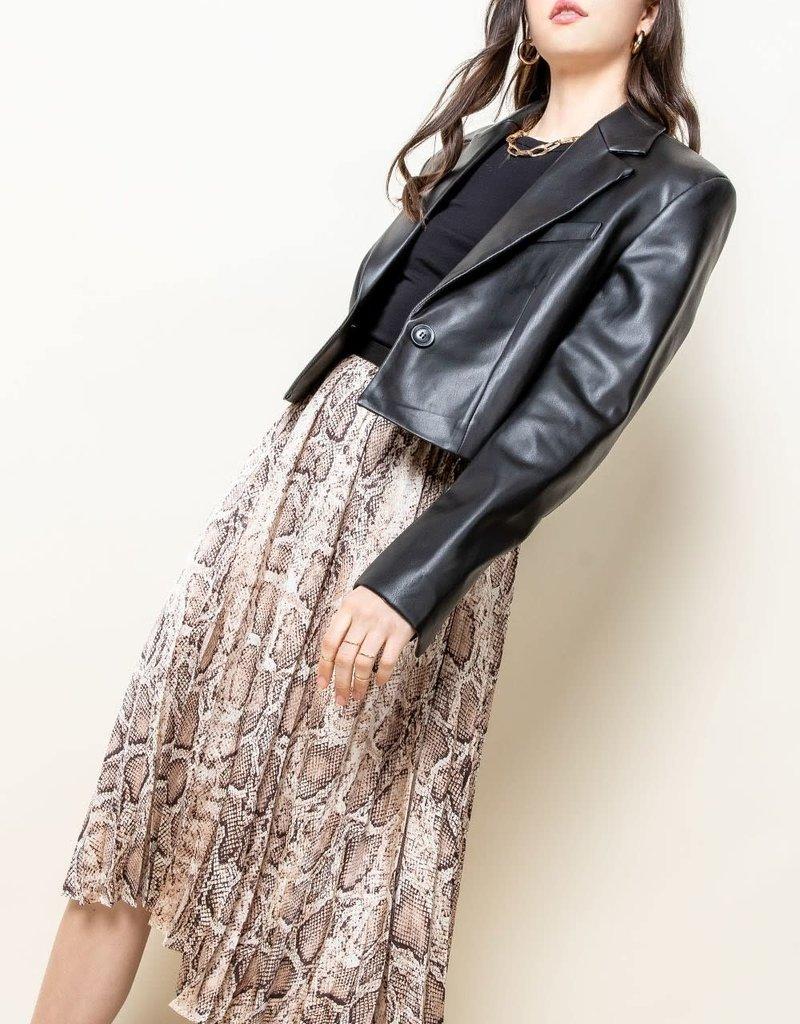 Snakeskin Pull On Pleated Skirt Beige