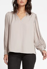 Pleated Long Sleeve Blouse Taupe