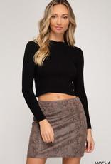 Snakeskin Suede Mini Skirt Mocha