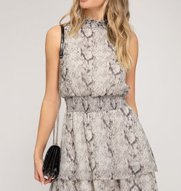 Sleeveless Mock Neck Cheetah Dress w/ Smocked Waist Grey
