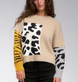 Mixed Animal Print Sweater Tan