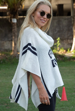 Game Day Poncho White/Navy
