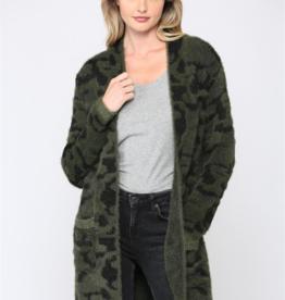 Leopard Fuzz Knit Cardigan Olive