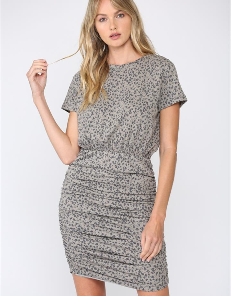 Leopard Ruched Dress Taupe