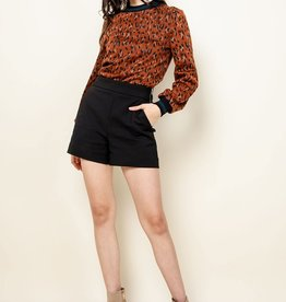 Mixed Media Leopard Sweater Rust