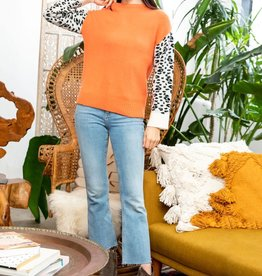 Leopard Sleeve Sweater Orange