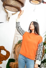 Leopard Sleeve Sweater Orange