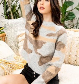 Camo Sweater Beige