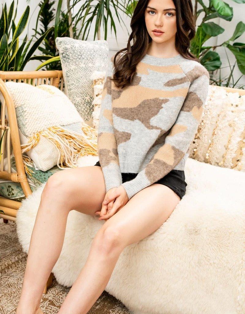 Camo Sweater Beige