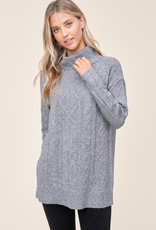Cable Knit Turtleneck Sweater Grey