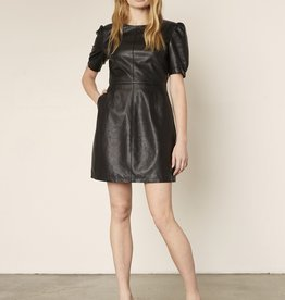 Maggie Leather Dress Black