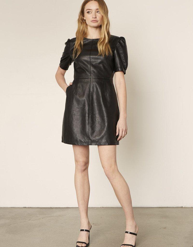 Maggie Leather Dress Black