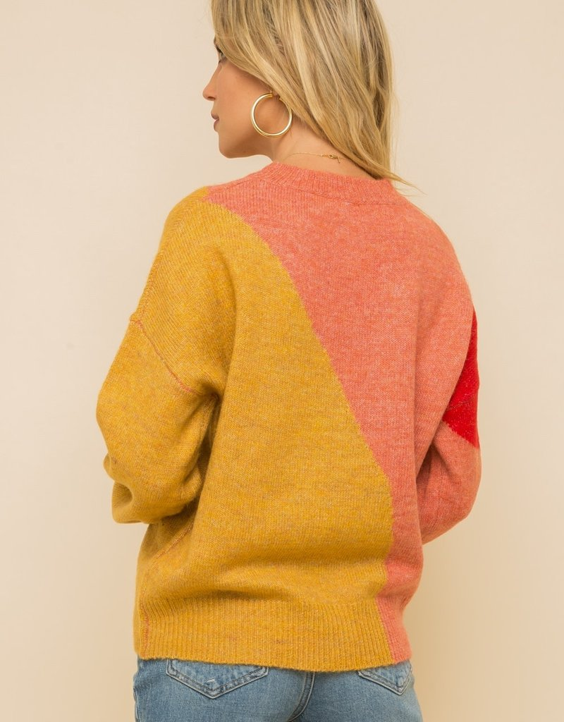 Color Blocked Sweater Coral/Mustard/Red