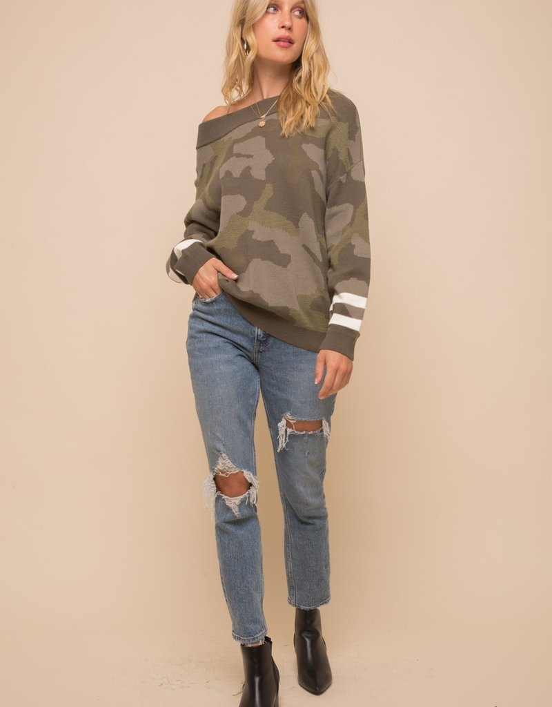 Camo Off the Shoulder Sweater