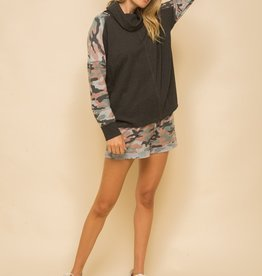 Camo Sleeve Sweater Charcoal Multi