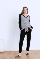 Another Love Kal Tie Front Pullover Black/Grey