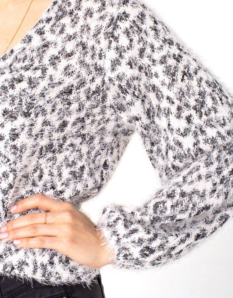 Twist Back LS Knit Top Black/White
