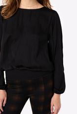 Puff Sleeve Top w/ Smocked Waistband Black