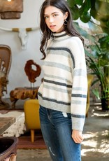 Soft Stripe Turtleneck Grey