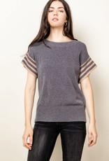 Stripe Sleeve Top Grey