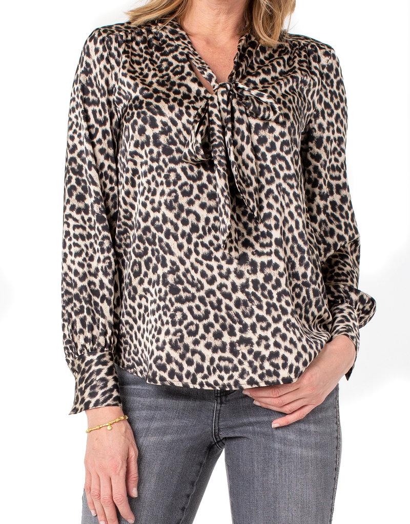 V-Neck LS Blouse w/ Neck Ties Leopard