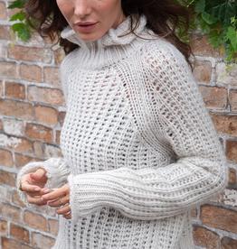 Turtleneck Smocked Waist Knit Sweater Mirage