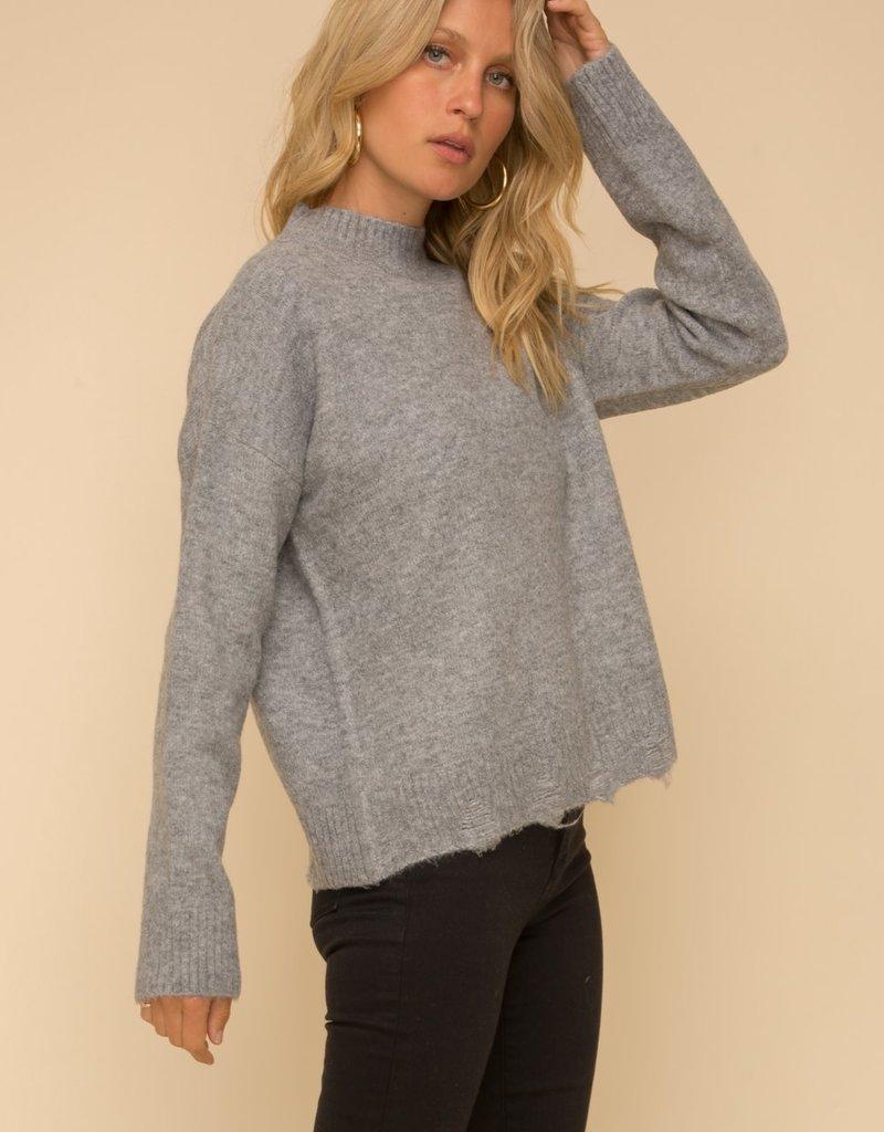 Drop Shoulder Mock Neck Destroyed Sweater Grey