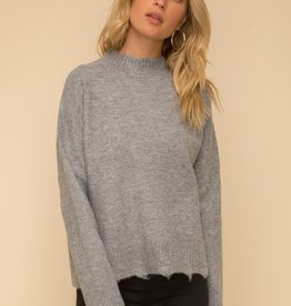 Drop Shoulder Mock Neck Destroyed Sweater Grey