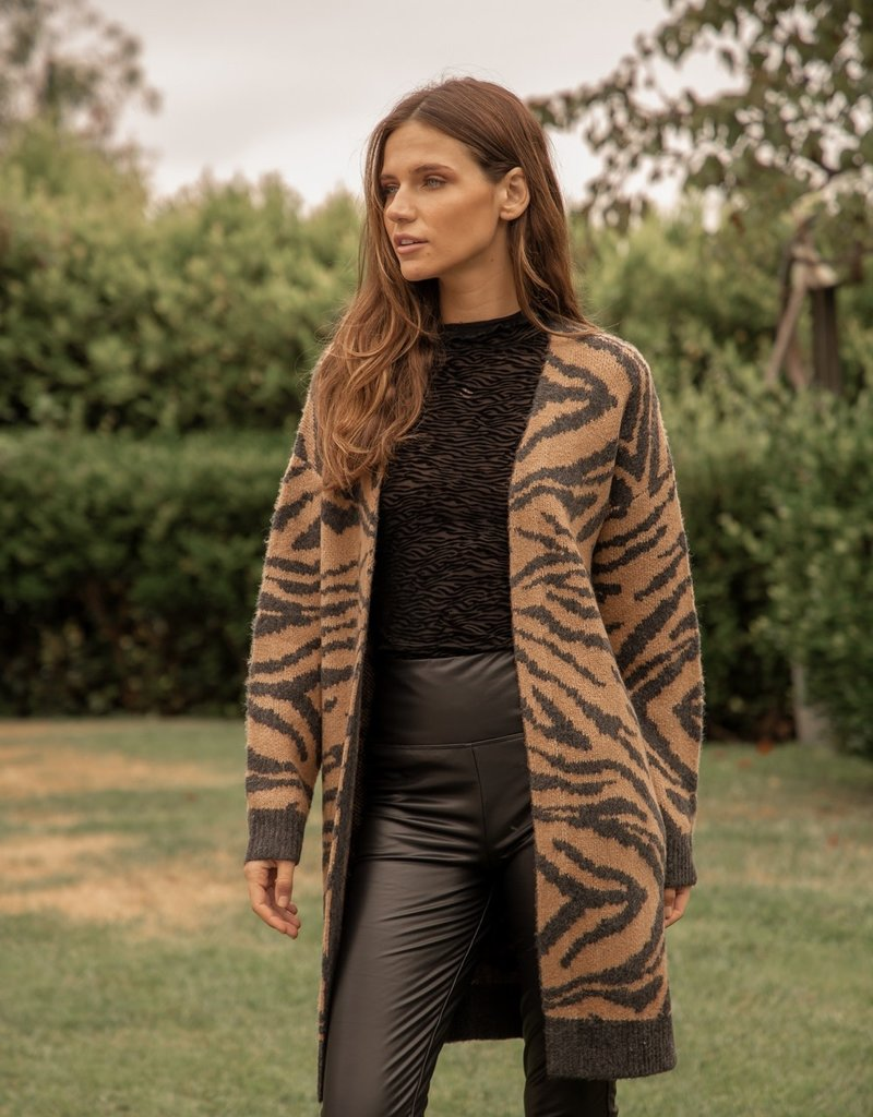 Tiger Cardigan Camel/Black