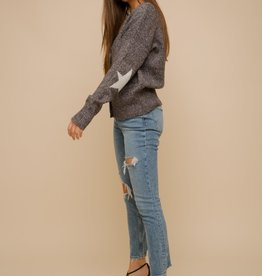 Star Patch Elbow Cardigan Charcoal