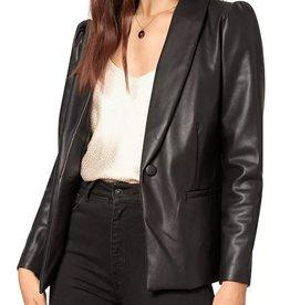 Fallon Puff Sleeve Leather Blazer